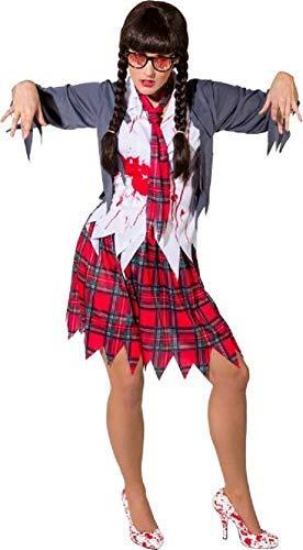 Ladies Dead Intelligent Zombie School College Girl Halloween Horror Bloody Fancy Dress Costume Outfit (UK 10-14)