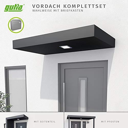 Gutta BS Plus Vordach anthrazit I Überdachung aus Aluminium I Modell: Einfach | 160 x 90 cm I Ausrichtung: rechts