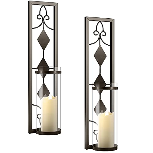 2 Set Wall Sconces Candle Holders Metal Wall Decorations Antique-Style Metal Sconces with Battery Operated Candles for Living Room, Bathroom, Dining Room, Patio or Office (Coffee)