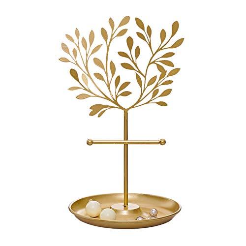 Chenhan Joyería Caja de Almacenamiento Árbol de joyería de Metal Top de Mesa de Oro Decor Pendientes/Pulseras Collar Organizador Soporte Torre de exhibición con Bandeja Redonda Colgador de Joyas
