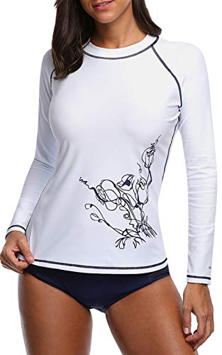 CharmLeaks Womens Rashguard Long Sleeve White Swim Shirt Sun Protection UPF 50 L