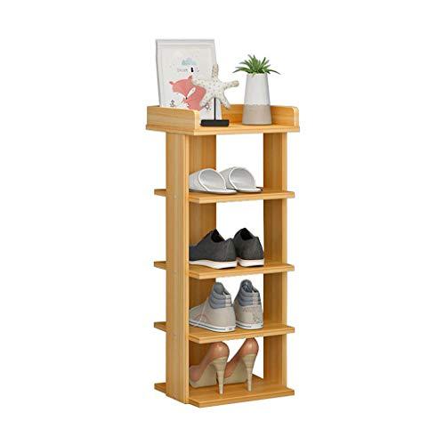 ZZYE Zapatero Rack de Zapatos de Madera 5 Tier Tower Gabinete Almacenamiento de Armario Saving Saving Simple Modern Versatile (Color de la Nuez) Perchero Zapatero