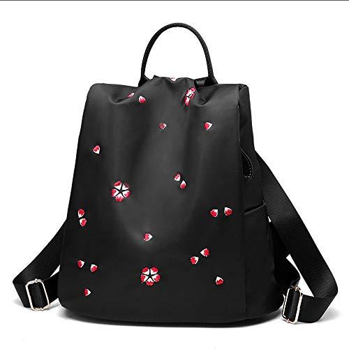 Rucksack - Fashion Elegante Oxford Tuch Stickerei Rucksack Kleine Frische Mini Wild Canvas Light Rucksack Diebstahlsichere Wasserdichte Große Kapazität (Farbe : SCHWARZ, Stil : Cherry Blossom)
