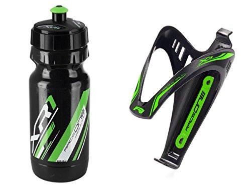 RaceOne.it - KIT Fluo Race - 2 PCS - Bidón de ciclismo + Portabidon para bicicleta. Bottle XR1 + Bottle Cage X3 /600 CC. Color: Verde Fluo - 100% MADE IN ITALY