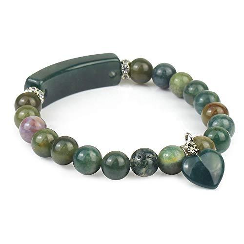 Gemstone Handmade Bange 7.2' Elastic Bracelet Match Heart-Shaped Beads Indian Agate