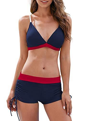 Women's Two Piece Swimsuits Athletic Boyshort Bottoms Bathing Suits Halter Binkni Swimwear for Women Black & Red L