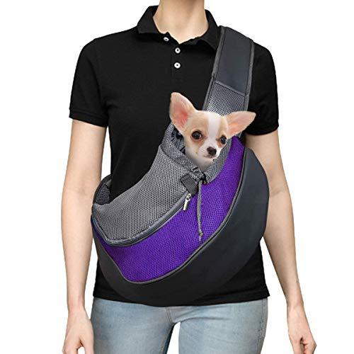 GWL Tragetuch Hund, Tragbar Haustier Hunde Katzen Umhängetasche, Verstellbare Schultergurt Welpen Reise Träger, Atmungsaktives Netz Fronttasche Hundetragebeutel für Metro Outdoor (Purple, S)