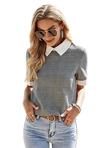 Romwe Women's Cute Contrast Collar Short Sleeve Casual Work Blouse Tops Grey Plaid M