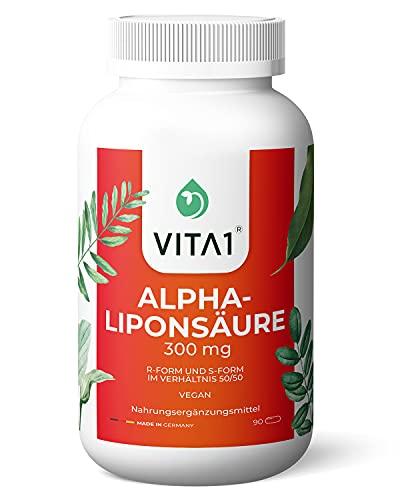 Vita 1 Alpha-Liponsäure ALA 600 mg 90 Kapseln (6 Wochen Vorrat) 50% R- und 50% S-Alpha-Liponsäure, 45 g