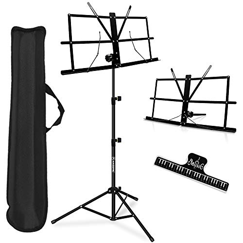 Music Stand, Kasonic 2 in 1 Dual-Use Folding Sheet Music Stand & Desktop Book Stand, Portable and Lightweight with Music Sheet Clip Holder & Carrying...
