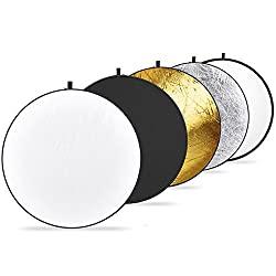 Sonia 42-inch / 107 cm 5 in 1 Collapsible Multi-Disc Light Reflector with Bag - Translucent, Silver, Gold, White and Black,SONIA,5in1