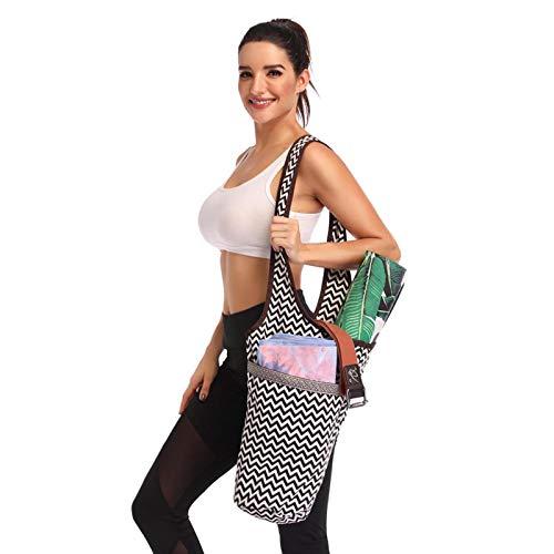 Ducomi Zigzag - Bolsa para esterilla de yoga, bolsa para gimnasio con bolsillo de agua, toalla y accesorios - Bolsa funcional de bandolera para deporte, fitness, pilates - Regalo para mujer (Zigzag)