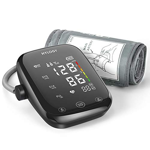 HYLOGY Oberarm Blutdruckmessgerät, Digital Vollautomatisch Blutdruckmessgerät und Pulsmessung, Großes Berührbarer LED Display und Sprachübertragung, Große Manschette und 2x90 Dual-User-Modus(Mehrweg)