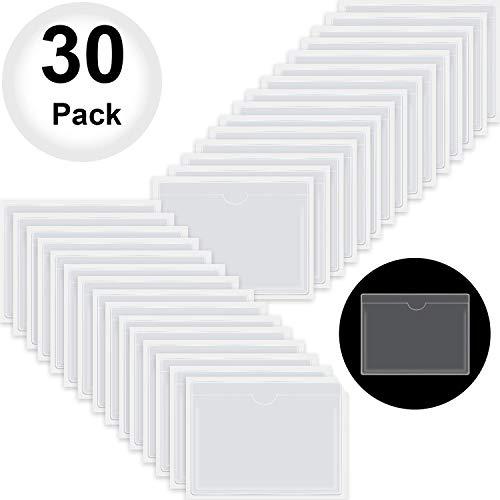 Floratek 30個セット粘着ポケット ラベル カード ポケット ホルダー 透明 ファイリング ポケッ トメモ 書類整理 ラベル 名刺 カード フォト 領収書 収納 保管 防水 防湿 フォトポケット (12 x 9 cm)