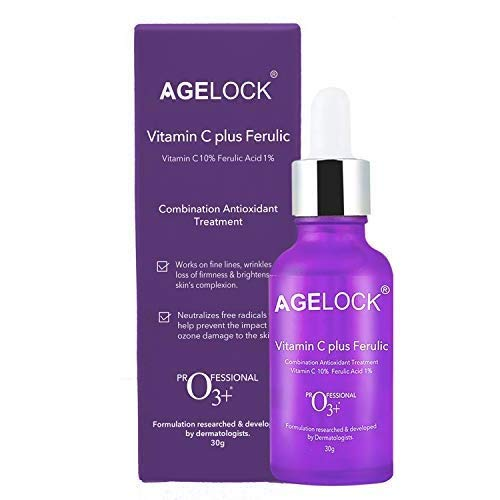 O3+ Agelock Vitamin C Ferulic Acid Serum Antioxidant Face Toner for Detanning, Fine Lines, Wrinkle Removal & Bright Skin, 30g