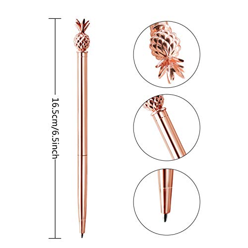 ZZTX 3 PCS Rose Gold Ballpoint Pens Metal Pen Bling Topped with Pineapple with Refills Black Ink Office Supplies Gift Pens For Christmas Wedding Birthday Photo #5