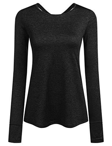 ADOME Damen T-Shirt Schnell Trocken Fitness Yoga Top Sportshirt Funktions Shirts Langarmshirt Running Top Oberteile