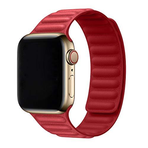 Lobnhot Compatibile per Apple Watch Cinturino 38mm 40mm, cinturino di ricambio cinturino in pelle compatibile per iWatch serie 6/5/4/3/2/1/SE(Rosso)