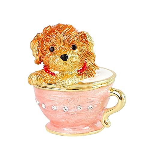 SMFN Crystal Puppy Jewelry Box Anillos Anillos Collares Pulseras Mostrar Estatuilla Colección Animal Ornament Bellamente Encantador