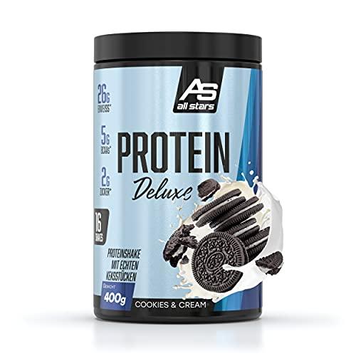 ALL STARS Protein Deluxe Dose – 400g – Cookies & Cream – Premium Eiweißpulver mit leckeren Keksstücken – zum Muskelaufbau, Gewichtsmanagement und Anti-Heißhunger
