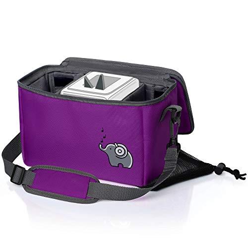 Musikbox-Tasche für Hörwürfel (z.B. Toniebox und Tigerbox Touch) in seepferdchenlila | Verstellbare Innenfächer | Netzbeutel für Zubehör (z.B. 10 Hörfiguren oder SD-Karten)