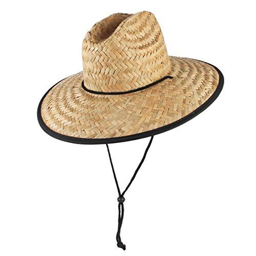GEMVIE Paja Sombrero para Hombre de Sol Playa ala Ancha Verano Unisexo Estilo Socorrista Gorro para Campo/Pesca/Jardinería (Beige)
