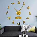 BBNNN Anubis Ibizan Hound Dog 3D DIY Reloj de Pared Podenco Ibicenco Raza de Perro Egipcio Reloj sin Marco Efecto de Espejo Diseño Animal 27 Pulgadas