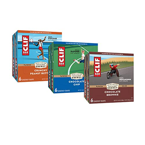 CLIF BARS  Energy Bars – Care Package  Chocolate Chip and Crunchy Peanut Butter  Plant Based  Made with Organic Oats 24 oz 6 Packs Total 36 Bars Packaging amp Assortment May Vary