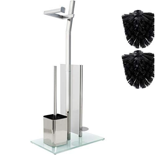 smartpeas WC-Garnitur mit Rollenhalter - Glänzendes Chrom – Toilettenpapierhalter aus verchromtem rostfreiem Edelstahl – Fuß aus Glas –32x20x70cm –Plus: 1+2 Klobürsten zum Austauschen!