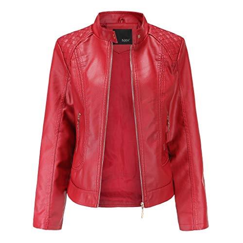 Sannysis Lederjacke für Damen Vintage Jacke Elegant Kunstlederjacke Übergangsjacke Bikerjacke Kunstleder Mit Stehkragen Leder Damenjacke Jacket (L, Rot)