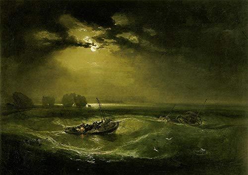 nobrand William Turner: Fischer auf See Ölgemälde Leinwandbilder Drucke Wandkunst für Wohnzimmer Schlafzimmer Dekor 60x90cm kein Rahmen