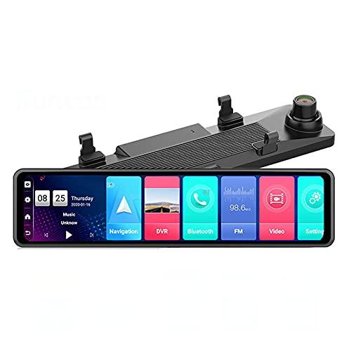 Dash Cam, 12 Pollici Touch Screen 4G Android Specchietto Retrovisore Dash Cam 2+32G Videoregistratore Automatico GPS Wifi Dual Lens Full HD 1080P Telecamera DVR Per Auto