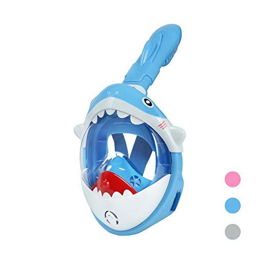 Glymnis Tauchmaske Kinder Schnorchelmaske Tauchermaske Anti-Fog und Anti-Leck Technologie Faltbare Vollmaske mit 180° Sichtfeld und Antibeschlagmittel Haifischform (Blau-xs)