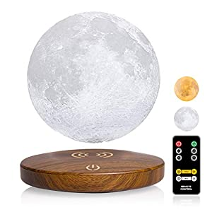 Magnetic Levitating Moon Lamp DTOETKD Two Colors 3D Printing Moon Light Floating and Spinning in Air Freely with Remote Control and Time Setting,Best Gifts for Birthday Thanksgiving Christmas