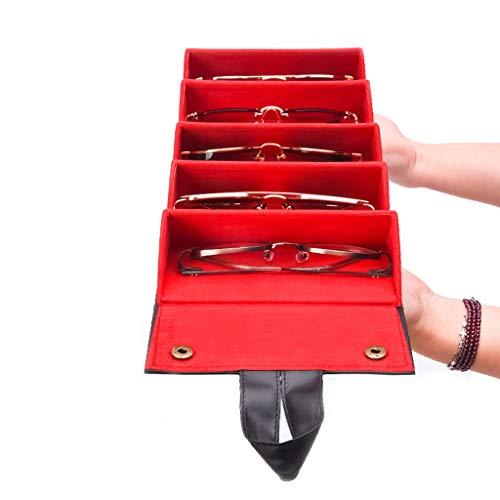 Chenguojian Multi-Rejilla Gafas de Sol Gafas de visualización Organizador Caja de Almacenamiento Lentes de Sol portátil de Viaje Plegable Bolsa de Almacenamiento