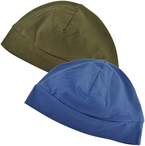 Cotton Beanie Hat, 2-Pack Unisex Running Skull Cap Winter Summer Sports Hat Sleep Cap Chemo Cap