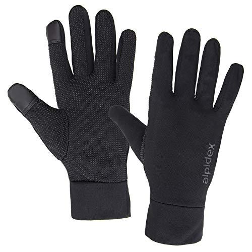 ALPIDEX Leichte Sporthandschuhe Laufhandschuhe WÅRM ÅP Running Handschuhe Unisex Sport Handschuhe Nordic Walking Handschuhe für Damen und Herren mit Touchscreen-Funktion, Größe:M, Farbe:Black