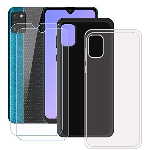 "szjckj 2 x Funda para Cubot Note 7 (5,5"")+ 2 x Protector de Pantalla, Case Cover Carcasa Bumper Negro + Transparente Clear TPU Silicone Cristal Vidrio Templado."