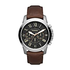 Case size: 44mm; Band size: 22mm; quartz movement with luminous 3-hand analog display; mineral crystal face; imported Round stainless steel case with black dial and Roman numerals Genuine brown leather band with buckle closure; interchangeable with a...