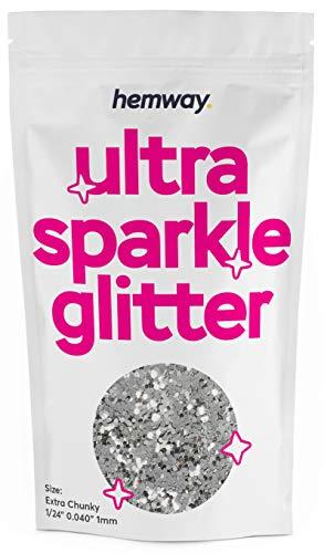 Hemway super extra Chunky glitter Premium multiuso 1/61cm 0,1cm 1mm 1000micron polvere/polvere 100g/99,2gram unico colori per uso con decorazioni per calici Art DIY presenta Cards fiori