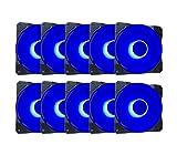 APEVIA CO1012L-BL Cosmos 120mm Blue LED Ultra Silent Case Fan w/ 16 LEDs & Anti-Vibration Rubber Pads (10 Pk)