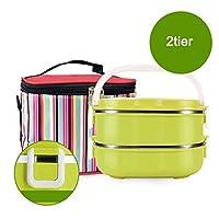 保冷ランチバッグ、ステンレス鋼のコンパートメントの熱弁当ランチボックス保冷食品容器でスタッカブルサーモスランチボックス (Color : 緑, サイズ : 5 tier)