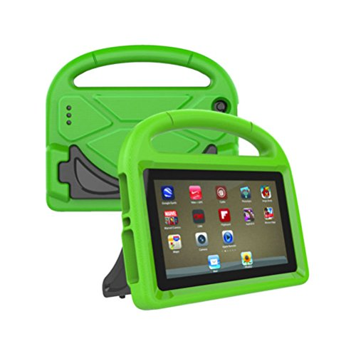 Solustre Handle Stand EVA Protective Cover Shockproof Convertible 7 Inch Display Lightweight Child Case for 2017 Amazon Kindle Fire 7 Tablet (Green)