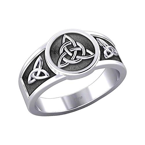 US Jewels Men's 0.925 Sterling Silver Irish Celtic Trinity & Triquetra Knots Ring Band, 11