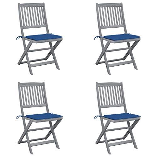 vidaXL 4X Akazienholz Massiv Gartenstuhl Klappbar mit Kissen ohne Armlehnen Holzstuhl Klappstuhl Essstuhl Stuhl Stühle Gartenstühle Holzstühle