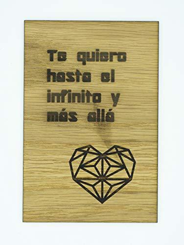 """Tarjeta Madera Roble""""Te quiero hasta el infinito y más allá"""" Regalo día de la madre, día del padre, San Valentín, cumpleaños y aniversarios"""