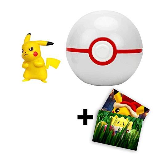 Lively Moments Pokemon - Pokeball Clip ´N´ GO für unterwegs Pokemonfigur - Pikachu im Premierball + GRATIS Grußkarte