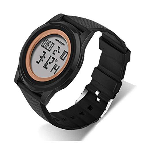 Reloj digital resistente al agua Resistente a la pantalla LCD Hombres 30M Agua reloj del deporte con el cronómetro luminoso Función de alarma digital al aire libre del reloj jianyou ( Color : Gold )