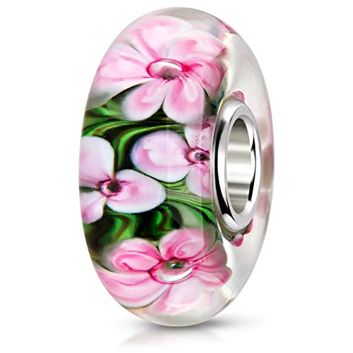 MATERIA Muranoglas Bead Blume rosa grün - 925 Silber Glas Anhänger für European Beads Armband #954