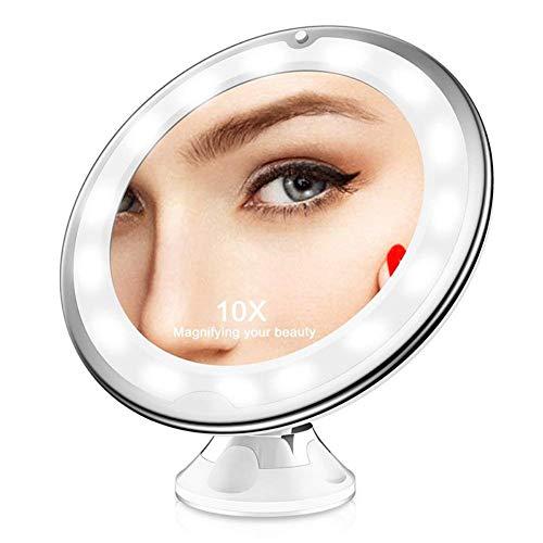 PowerBH 10X Lupa para iluminar el Espejo para maquillarse con la Ventosa de Bloqueo de energía 360 Grados Que giran el Brazo Ajustable Batería inalámbrica operada para el hogar y el Viaje Vanidad
